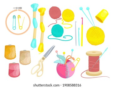 Colored various threads for sewing flat set for web design. Cartoon weaving wool, yarn, clew and needles isolated vector illustration collection. Hobby and knitting concept