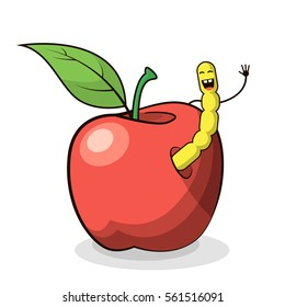 colored vector flat art illustration of a cartoon apple with worm