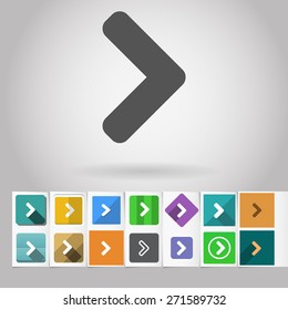 """Colored vector flat """"greater than"""" square icon and buttons set. Design elements on paper styled background"""