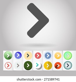 """Colored vector flat """"greater than"""" circle icon and buttons set. Design elements on paper styled background"""