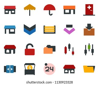 colored vector icon set - 24 around vector, automatic door, umbrella, shop, medical room, japanese chart, storefront, store, container, package, money chest, unlock, open menu, folder