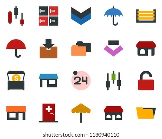 colored vector icon set - 24 around vector, umbrella, shop, medical room, checkroom, japanese chart, storefront, store, container, package, money chest, unlock, open menu, folder