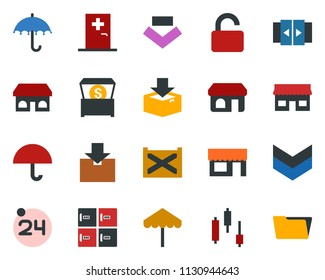 colored vector icon set - 24 around vector, automatic door, umbrella, shop, medical room, checkroom, japanese chart, storefront, store, container, package, money chest, unlock, open menu, folder
