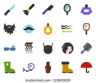 colored vector icon set - baggage larry vector, comb, mirror, nail polish, parfume, mustache, make up brush, hair straightening, wave of, woman, beard, boot, umbrella