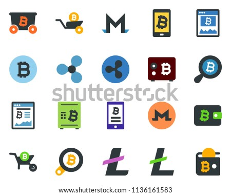 Colored Vector Icon Set Bitcoin Sign Stock Vector (Royalty Free