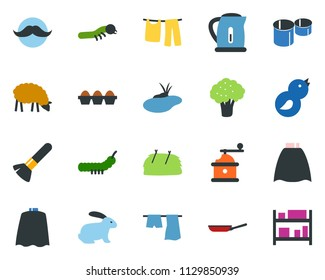 colored vector icon set - broccoli vector, sheep, rabbit, hay, mustache, make up brush, cloack, drying clothes, garden fork, shovel, lady bug, caterpillar, pond, bird, pipes, rack