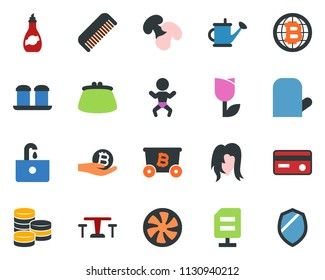 colored vector icon set - cafe vector, baby, comb, woman hair, mining, bitcoin palm, globe, cooling, sink, ripper, tree, hoe, picnic table, watering can, tulip, coin, credit card, purse, shield