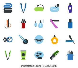 colored vector icon set - comb vector, mirror, pump sprayer, creme, razor, shampoo, parfume, electric, hair iron, spa, wave of, eyelashes, tweezers, soap, towel, pond