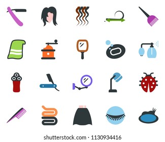 colored vector icon set - comb vector, mirror, pump sprayer, razor, electric, hair dye, hood dryer, cloack, straightening, wave of, eyelashes, towel, woman, soap, lady bug, pond