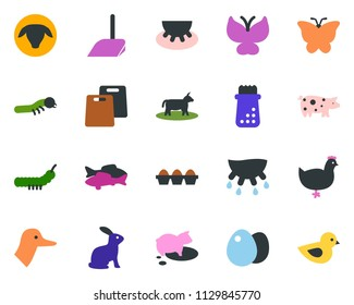colored vector icon set - cow vector, udder, sheep, chicken, pig, rabbit, duck, fish, scoop, butterfly, lady bug, caterpillar, bird
