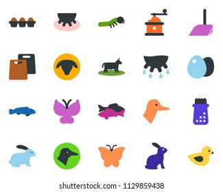 colored vector icon set - cow vector, udder, sheep, rabbit, duck, fish, scoop, butterfly, lady bug, caterpillar, bird