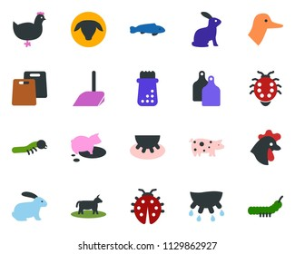 colored vector icon set - cow vector, udder, sheep, chicken, pig, rabbit, duck, fish, scoop, butterfly, lady bug, caterpillar