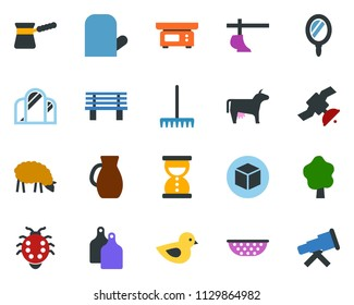colored vector icon set - cow vector, sheep, plow, mirror, cube, rake, fence, tree, butterfly, house, bench, lady bug, bird, satellite, sand clock, telescope