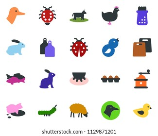colored vector icon set - cow vector, udder, sheep, chicken, pig, rabbit, duck, fish, butterfly, lady bug, caterpillar, bird