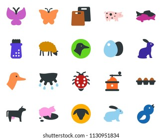 colored vector icon set - cow vector, udder, sheep, pig, rabbit, duck, fish, butterfly, lady bug, caterpillar, bird