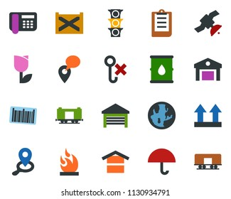 colored vector icon set - earth vector, railroad, satellite, traffic light, office phone, mobile tracking, container, clipboard, umbrella, warehouse storage, up side sign, no hook, tulip, flammable