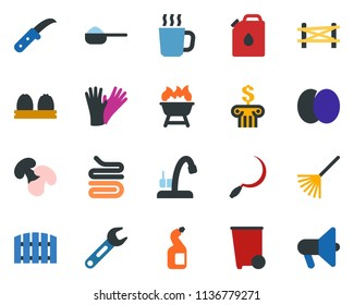 colored vector icon set - farm fence vector, plum, hot cup, rubber glove, trash bin, washing powder, cleaning agent, water tap, watering can, hoe, axe, picnic table, rake, sickle, garden knife, bank