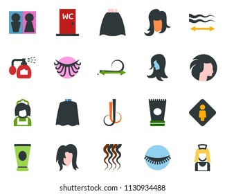 colored vector icon set - female vector, pump sprayer, creme, cloack, hair straightening, wave of, eyelashes, woman, water closet, cleaner
