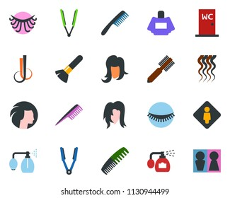 colored vector icon set - female vector, comb, pump sprayer, parfume, hair iron, make up brush, wave of, eyelashes, woman, water closet