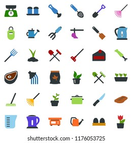 colored vector icon set - fertilizer vector, shovel and rake, plow, flower in pot, seedling, sproute, pruner, boot, hoe, sickle, garden sprayer, fork, farm, watering can