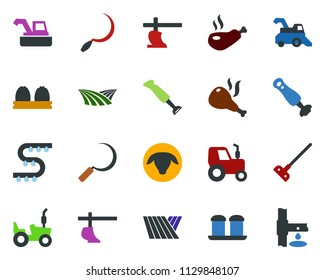 colored vector icon set - field vector, sheep, harvester, tractor, plow, hoe, sickle, drip irrigation