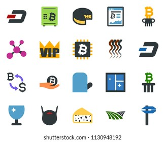 colored vector icon set - field vector, cheese, vip, wave of hair, beard, dash sign, bitcoin exchange, site, palm, safe, blockchain molecule, column, chip, window cleaning, shining, tree, calipers