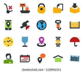 colored vector icon set - navigation vector, earth, satellite, traffic light, support, mobile tracking, clock, term, container, folder document, fragile, umbrella, warehouse storage, no trolley