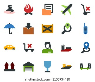 colored vector icon set - plane vector, office phone, support, client, sea shipping, car delivery, container, folder document, fragile, umbrella, up side sign, no trolley, warehouse, package, route