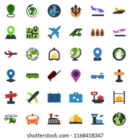 colored vector icon set - plane vector, suitcase, departure, arrival, baggage trolley, airport bus, reception bell, globe, larry, ladder car, helicopter, seat map, flight table, luggage storage, pin