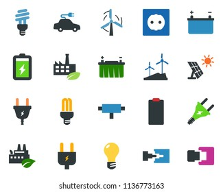 colored vector icon set - power plug vector, battery, sun panel, windmill, bulb, socket, eco factory, electric car, connect, connection