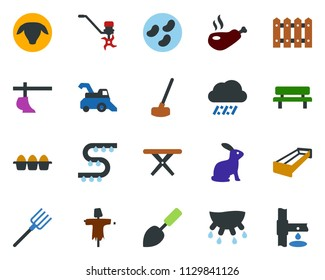 colored vector icon set - rain vector, udder, sheep, eggs, rabbit, manger, harvester, plow, scarecrow, greenhouse, drip irrigation, trowel, farm fork, ripper, fence, hoe, bench, picnic table