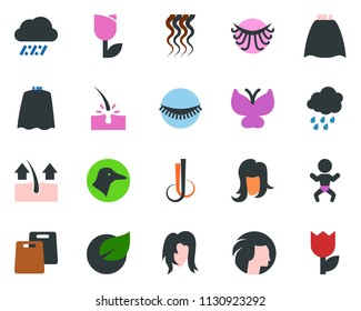 colored vector icon set - rain vector, duck, baby, depilation, cloack, wave of hair, eyelashes, woman, butterfly, leaf, tulip