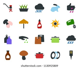 colored vector icon set - rain vector, sowing, rabbit, umbrella, sun, flower in pot, ripper, butterfly, seedling, plant label, picnic table