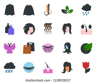 colored vector icon set - rain vector, depilation, cloack, wave of hair, eyelashes, woman, butterfly, leaf, tulip