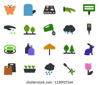 colored vector icon set - rain vector, sowing, rabbit, umbrella, tree, butterfly, seedling, plant label, ripper, forest, tulip