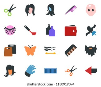 colored vector icon set - scissors vector, comb, bald head, wallet, hair straightening, eyelashes, woman, beard, glove, butterfly, satellite, cargo container, arrow