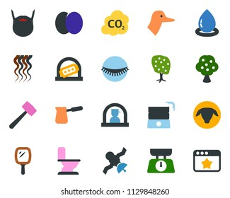 colored vector icon set - sheep vector, duck, plum, fruit tree, reception, ticket office, mirror, wave of hair, eyelashes, beard, toilet, rake, lawn mower, house, well, water drop, co2, satellite