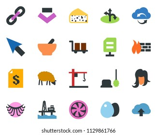 colored vector icon set - sheep vector, cheese, mortar, eyelashes, woman hair, cooling, toilet brush, caterpillar, offshore oil platform, tower crane, route, cargo, account statement, cloud exchange
