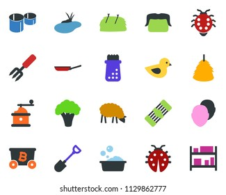 colored vector icon set - sheep vector, hay, broccoli, bald head, mustache, mining, foam basin, garden fork, lady bug, pond, shovel, bird, pipes, rack
