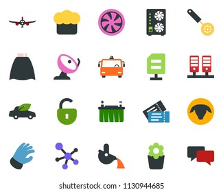 colored vector icon set - sheep vector, airport bus, ticket, plane, cloack, mining equipment, molecule, cooling, ladder, sproute, flower in pot, glove, battery, eco car, satellite antenna, server