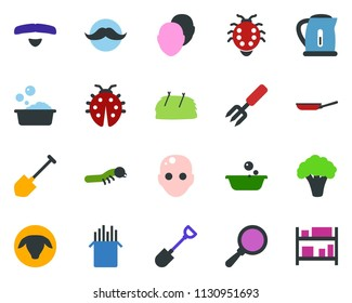 colored vector icon set - sheep vector, hay, broccoli, bald head, mustache, foam basin, garden fork, shovel, pond, lady bug, caterpillar, rack