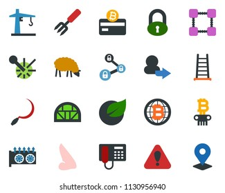 colored vector icon set - sheep vector, lock, nose, phone, mining equipment, bitcoin card, globe, blockchain, chain, column, garden fork, ladder, sickle, greenhouse, leaf, tower crane, laser, login