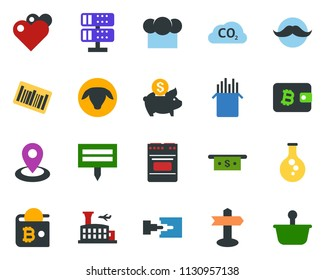 colored vector icon set - sheep vector, airport building, mustache, bitcoin wallet, ladder, rain, pond, plant label, flask, co2, signpost, navigation, barcode, cash, piggy bank, network server