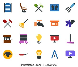 colored vector icon set - shovel and rake vector, sheep, hairdresser chair, water tap, splotch, welcome mat, washboard, garden fork, well, bulb, draw, presentation board