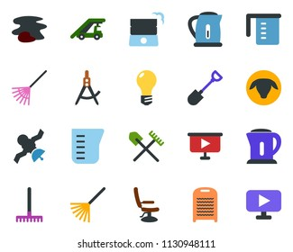 colored vector icon set - shovel and rake vector, sheep, ladder car, hairdresser chair, splotch, washboard, well, bulb, draw, satellite, presentation board