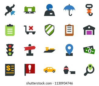 colored vector icon set - signpost vector, pin, railroad, important flag, satellite, cash, traffic light, support, sea shipping, car delivery, receipt, port, clipboard, umbrella, no trolley, hook
