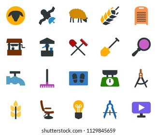 colored vector icon set - spike vector, shovel and rake, sheep, hairdresser chair, water tap, welcome mat, washboard, garden fork, well, bulb, draw, satellite, presentation board