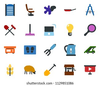 colored vector icon set - spike vector, shovel and rake, sheep, ladder car, hairdresser chair, splotch, welcome mat, washboard, garden fork, well, bulb, draw, presentation board
