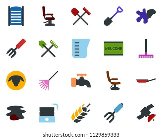 colored vector icon set - spike vector, shovel and rake, sheep, hairdresser chair, water tap, splotch, welcome mat, washboard, garden fork, well, satellite
