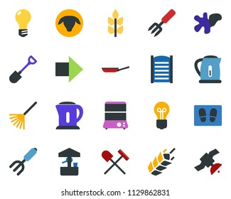 colored vector icon set - spike vector, shovel and rake, sheep, right arrow, splotch, welcome mat, washboard, garden fork, well, bulb, satellite